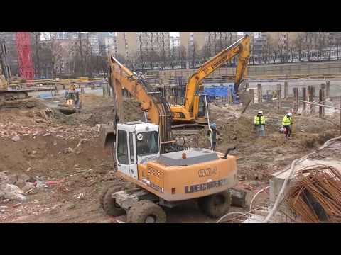 3 EXCAVATORS in action - Mennica Legacy Tower Warsaw Poland