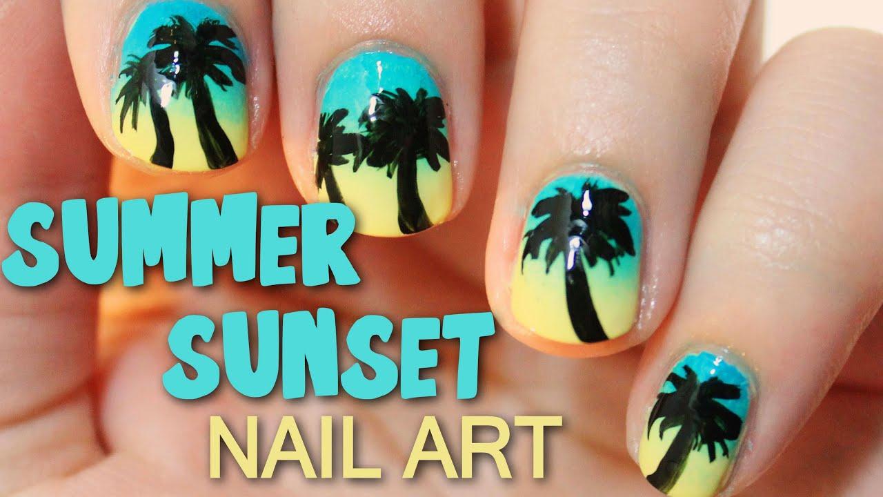 summer sunset nail art totallycoolnails