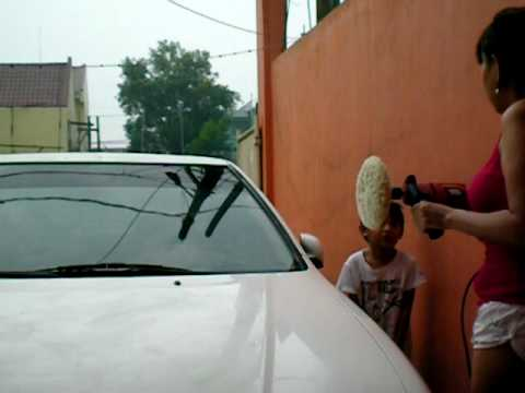 buffing a car using a drill