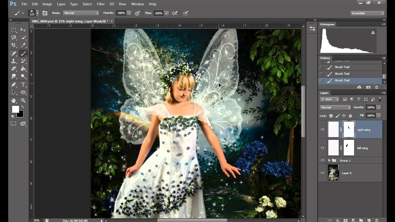 how to load and use digital fairy wing photoshop brushes