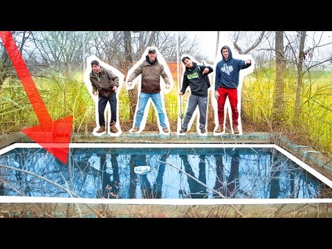 FISHING 100 Year Old ABANDONED Swimming POOL!
