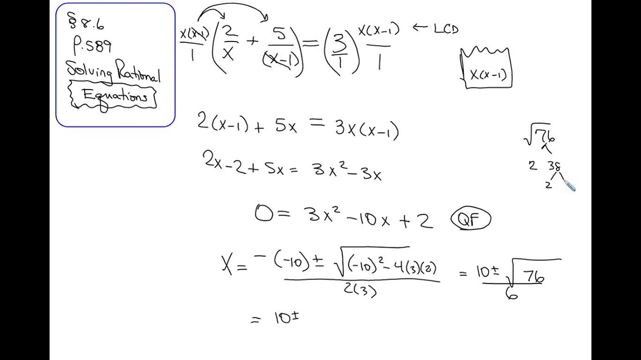 8 6 Solving Rational Equations Worksheet Form G  prentice hall algebra 2 answers chapter 8 gold