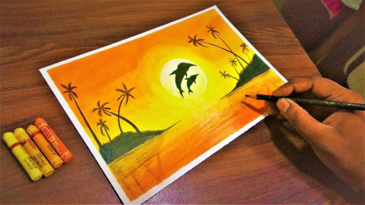 How to Draw a Scenery of Nature with Oil Pastels easy for ...