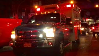 FDNY EMS AMBULANCE RESPONDING ON BROADWAY IN THE BED-STUY AREA OF BROOKLYN IN NEW YORK CITY.