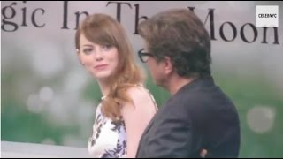 Emma Stone and Colin Firth promoting Woody Allen