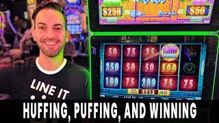 ⚠ HUFFING + PUFFING = WINNING! Brick House BONUS 🚧 Free Spins HUGE HIT on Green Machine!