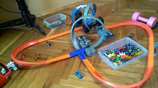 Hot Wheels Cars Test on the Track with 2 Boosters & 3 loops (Double Loop)