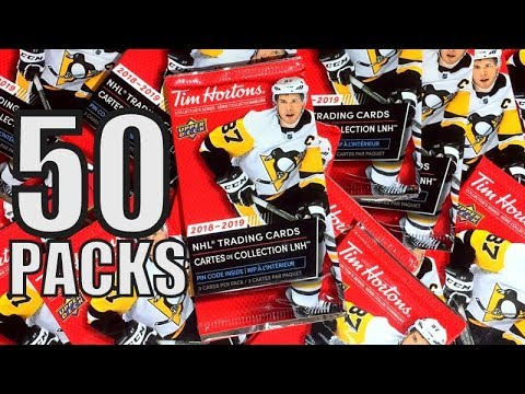 Opening 50 Packs of 18/19 Upper Deck Tim Hortons Hockey Cards | NHL Trading Cards