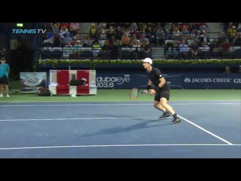 Incredible Andy Murray backspin half-volley at 2017 ATP Dubai Tennis