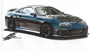 Realistic Car Drawing - Mk4 Toyota Supra - Time Lapse