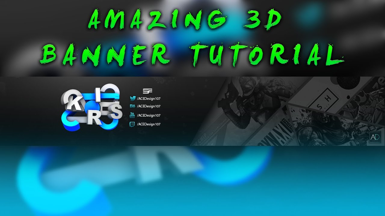 3d 2d youtube banner tutorial template photoshop cc youtube. Black Bedroom Furniture Sets. Home Design Ideas