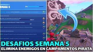 ELIMINA ENEMIGOS EN CAMPAMENTOS PIRATA - Desafios SEMANA 5 TEMPORADA 8 FORTNITE -RoEssYT