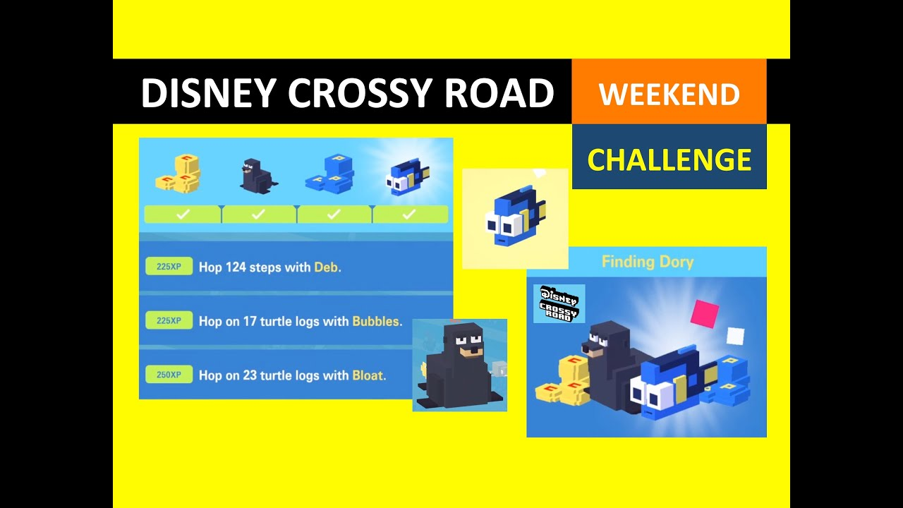 eac29a94e858 Disney Crossy Road Weekend Challenge Finding Dory (Baby Dory, Fluke)  Gameplay