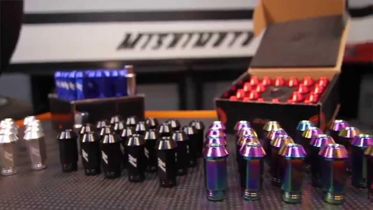 M12 x 1.5 16 Piece Mishimoto Aluminum Lug Nuts Set Black Color Open Ended