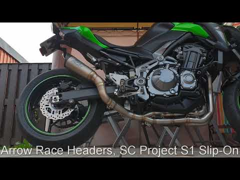 Kawasaki Z900 Arrow Racing Headers with SC Project S1 Slip-on