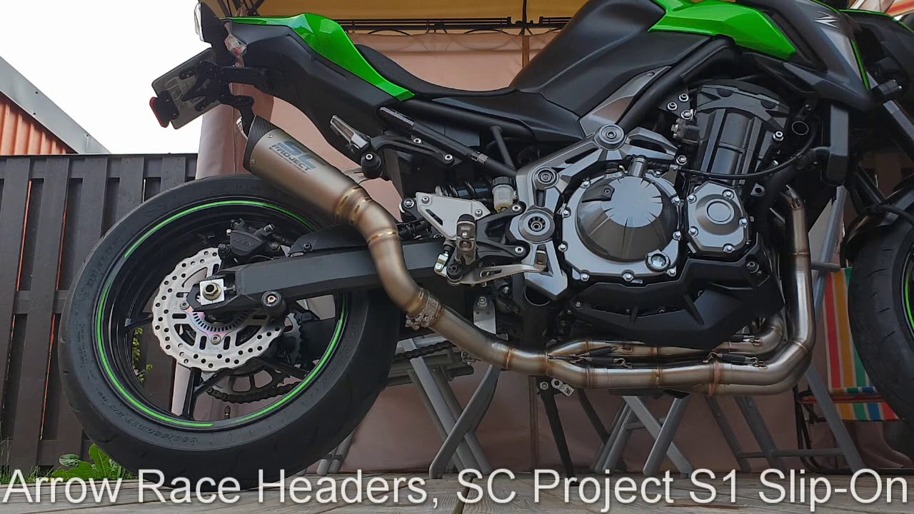 Kawasaki Z900 Arrow Racing Headers with SC Project S1 Slip-on Muffler