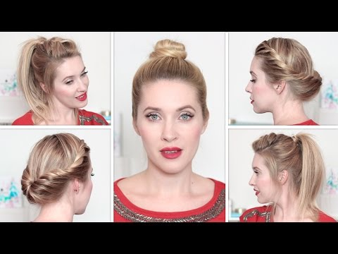 Fun back to school hairstyles for medium long hair ★ Everyday updo, top knot, ponytail