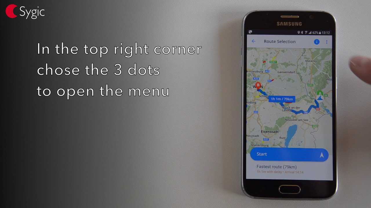 How to change a start point in Sygic GPS Navigation for Android