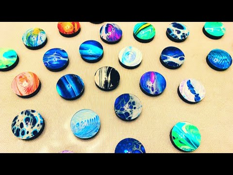 #125 - Making Magnets with paint skins | Acrylic Pouring | Fluid Art