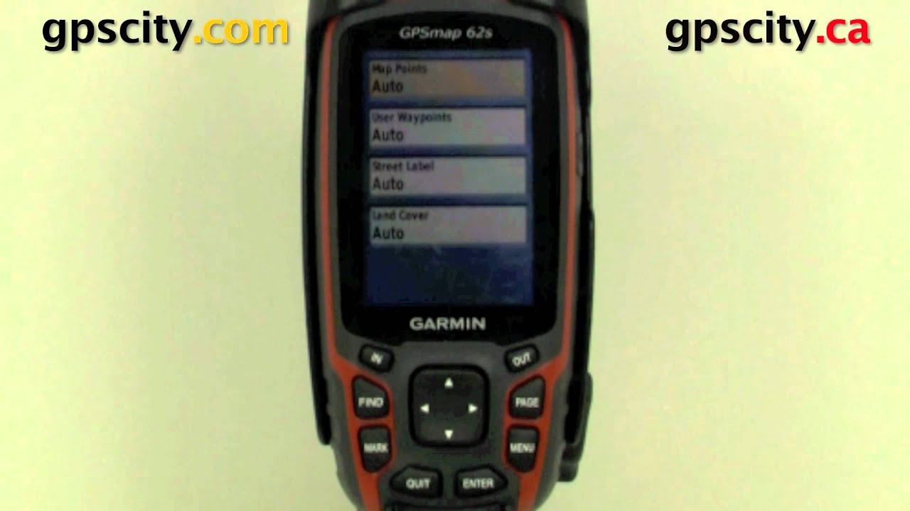 The Map Setup screen of the Garmin GPSMap 62S with GPS City