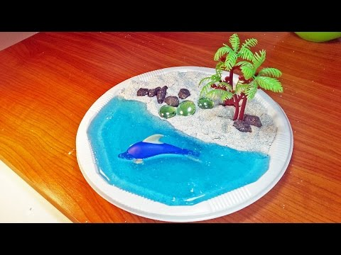 How To Make White Kinetic Sand Beach with Jelly Clear Slime Water