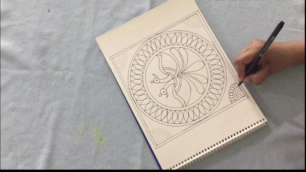 Black And White Madhubani Painting For Beginners