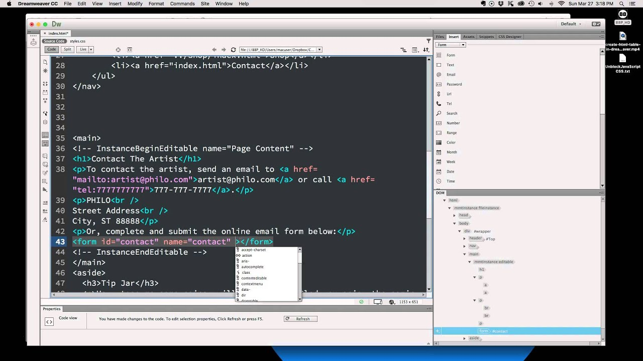 How To Create A HTML Form In Dreamweaver CC - YouTube