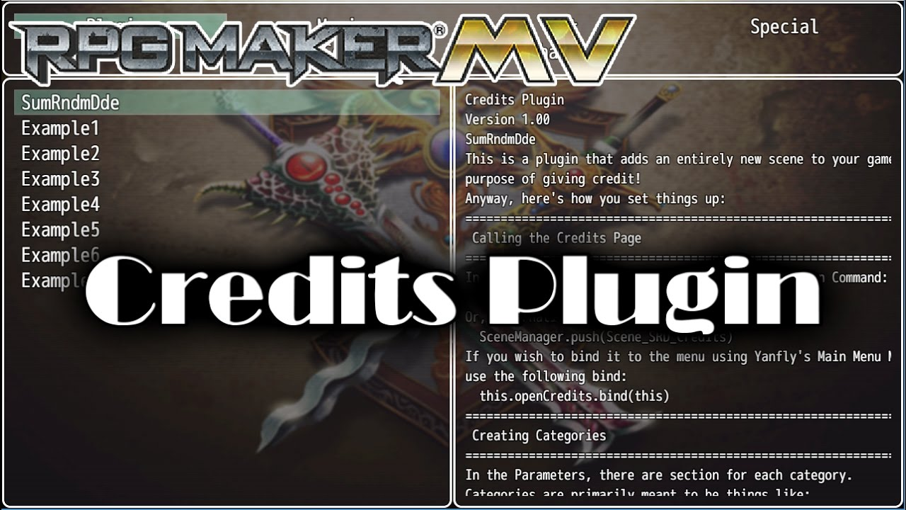 Credits Plugin Plugin - RPG Maker MV
