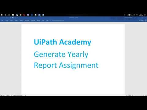 UiPath Academy Generate Yearly Report Assignment