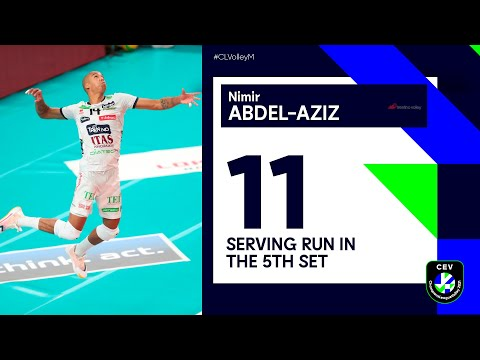 11 point 5th set serving run by Nimir for TRENTINO Itas vs Lokomotiv NOVOSIBIRSK   #CLVolleyM