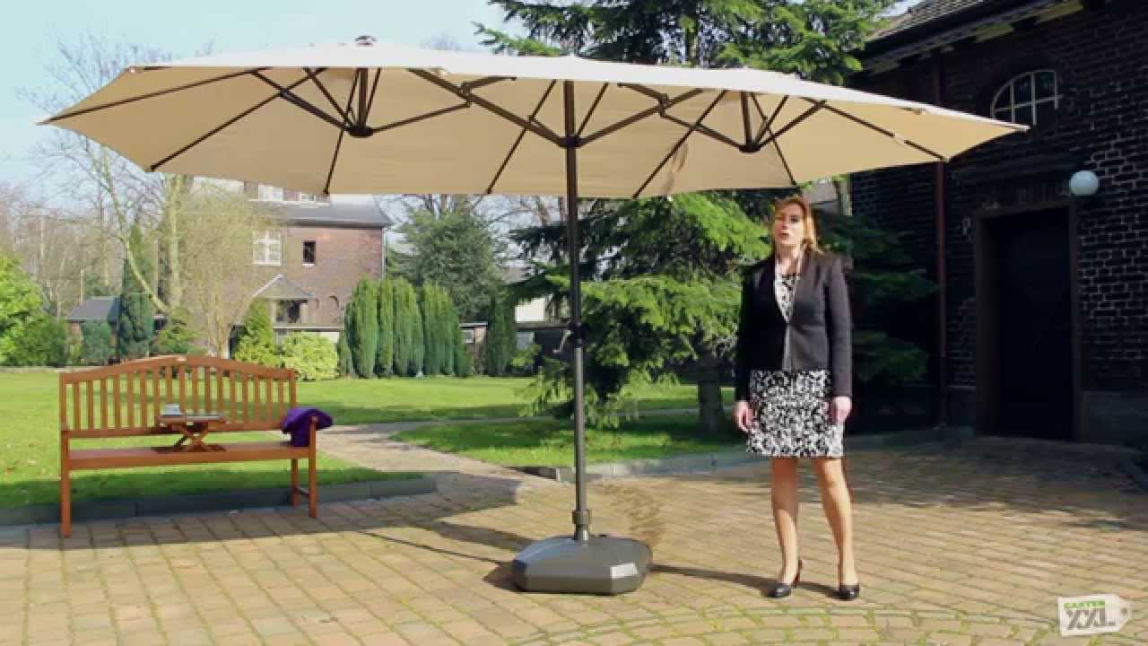 leco sonnenschirm oval natur gartenxxl youtube. Black Bedroom Furniture Sets. Home Design Ideas