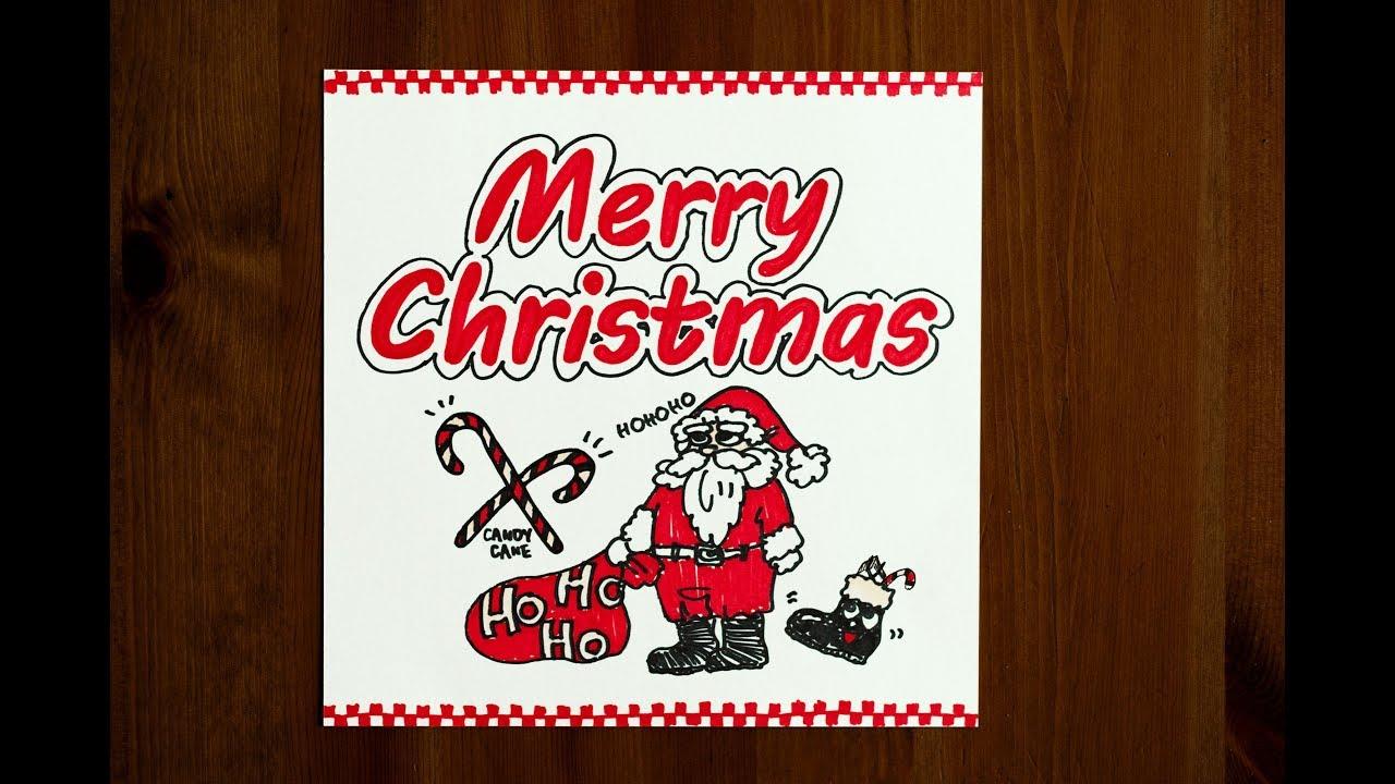 クリスマス用かわいい手書きイラスト書き方 手作りpopカードに使える