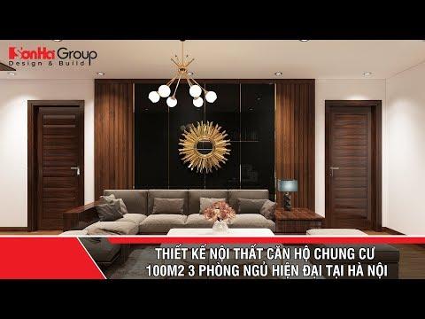 Thiết kế nội thất căn hộ chung cư 100m2 3 phòng ngủ hiện đại tại Hà Nội