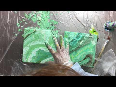 ( 050 ) Acrylic pouring 2 times 20cm x 20 cm