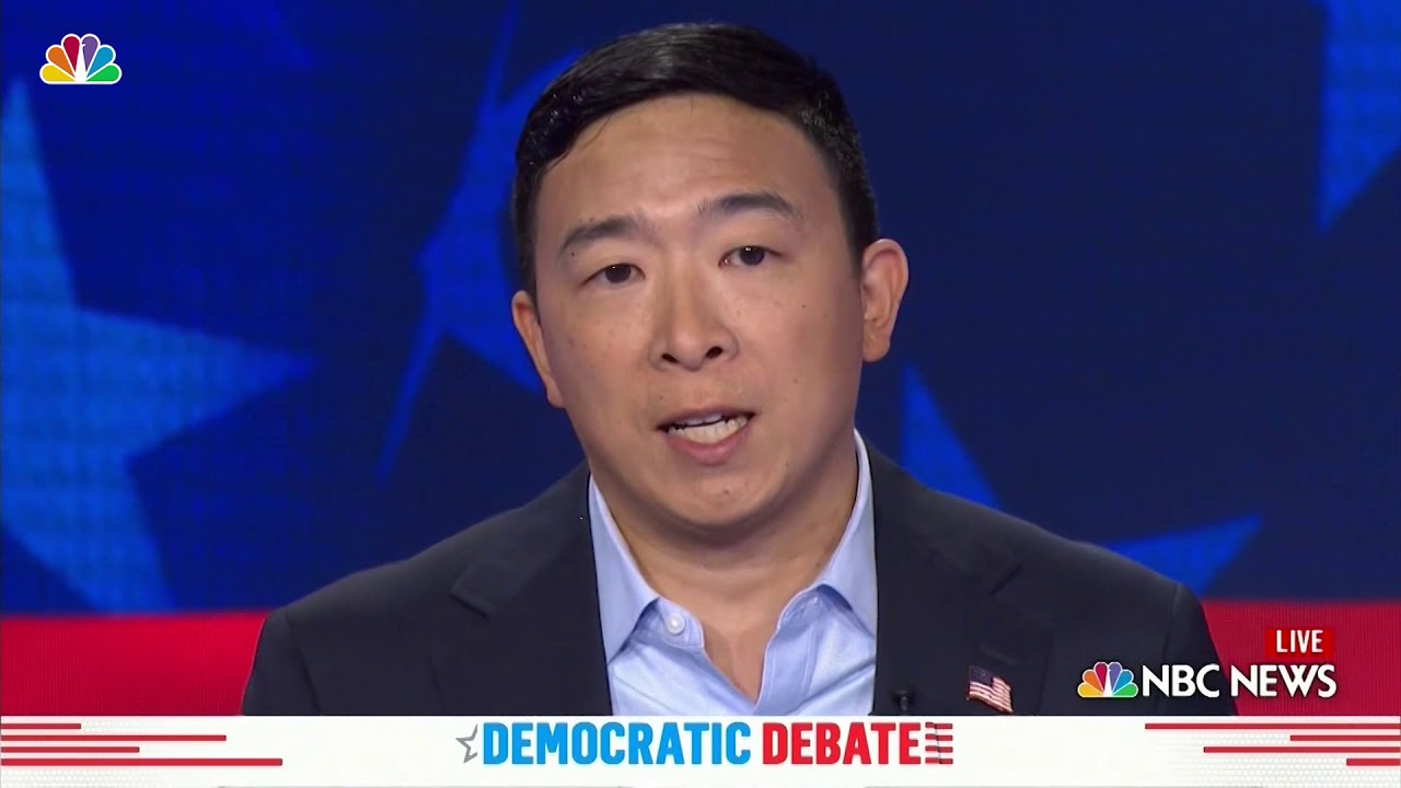 Andrew Yang went full influencer on the debate stage tonight