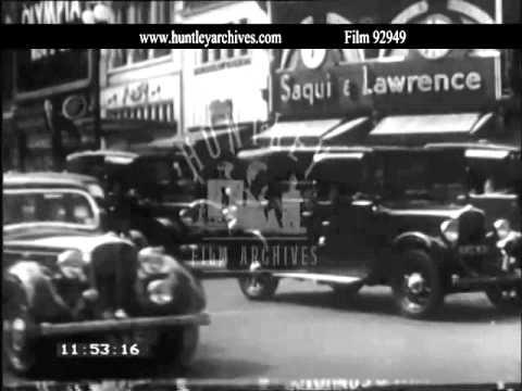 Piccadilly Circus and Shaftesbury Avenue, 1930's.  Archive film 92949