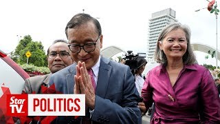Cambodian opposition leader drops by Parliament to meet MPs