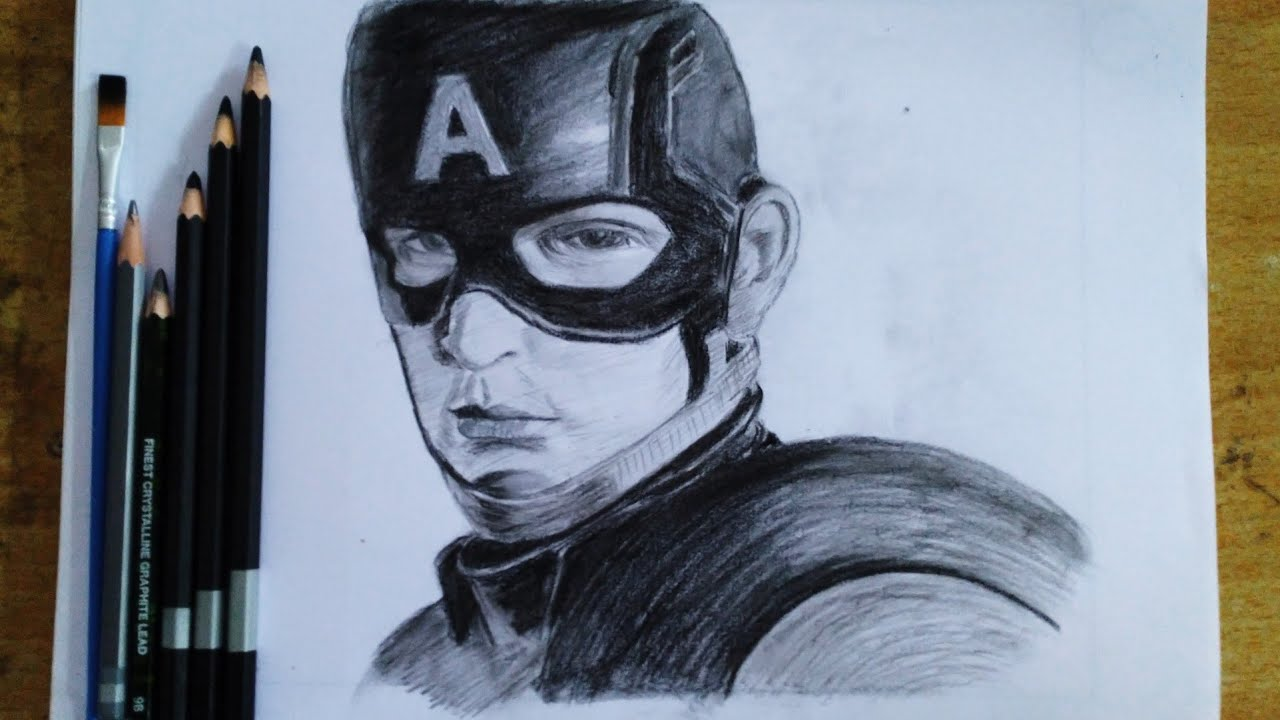 Captain america pencil drawing avengers end game