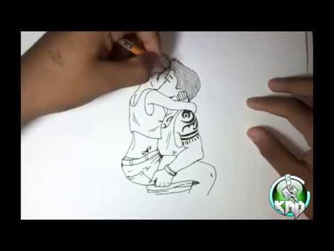 making a simple kiss drawing speed art by kevin moralez