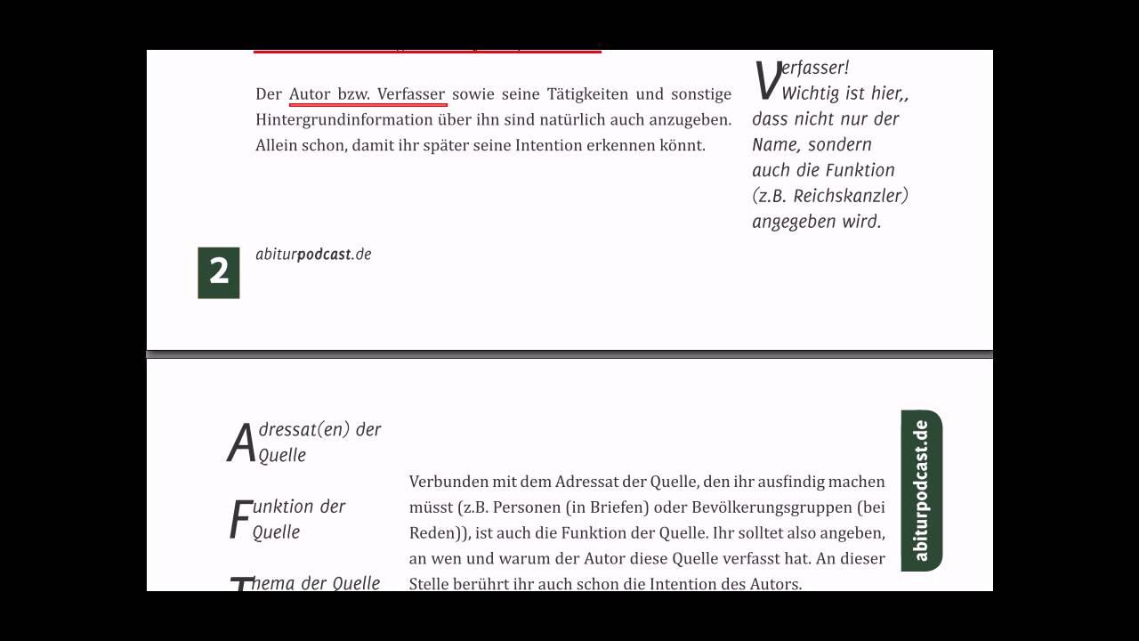 Abiturpodcastde Quellenanalyse Methodik Teil 1 Youtube