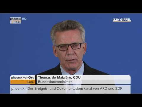 G20-Gipfel: Thomas de Maizière zu den Demonstrationen am 10.07.17