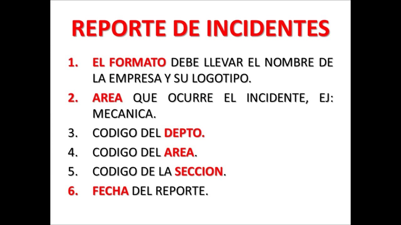 COMO LLENAR FORMATO DE REPORTE DE INCIDENTES - YouTube
