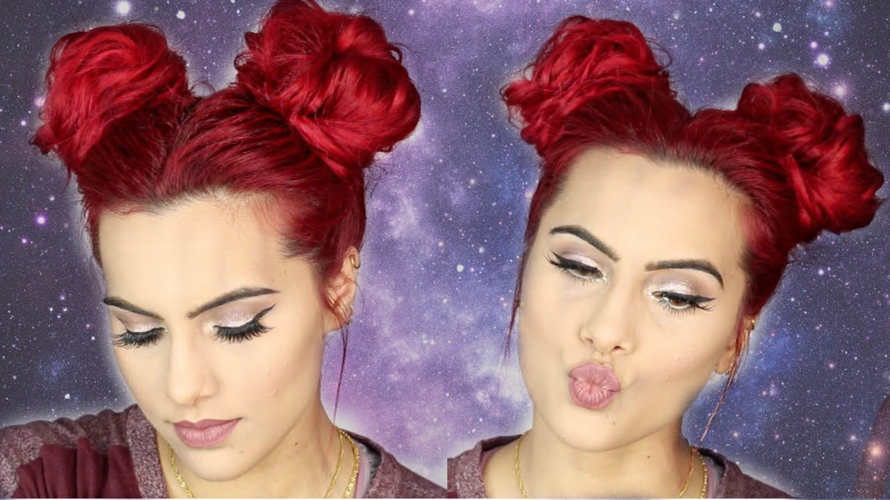 SPACE BUNS/DOUBLE BUNS hair tutorial  YouTube - Curly Hairstyles Black Hair