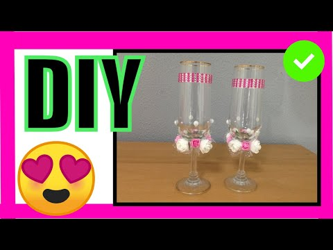 copas decoradas con flores para boda glasses decorated with flowers for wedding youtube. Black Bedroom Furniture Sets. Home Design Ideas