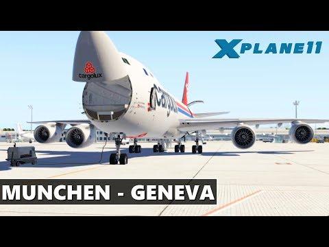 ✈️ X-PLANE 11   CARGOLUX   SSG B747-8i   MUNCHEN (EDDM) - GENEVA (LSGG) FULL FLIGHT   LIVE STREAMING