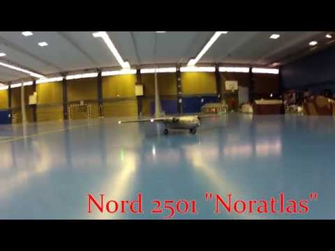"""RC """"Noratlas"""", Nord 2501 plane shot in flight from a quadcopter"""