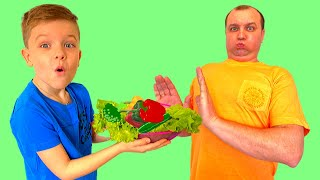 Андрей и папа  - учат как правильно питаться  и заниматься спортом - ate too much