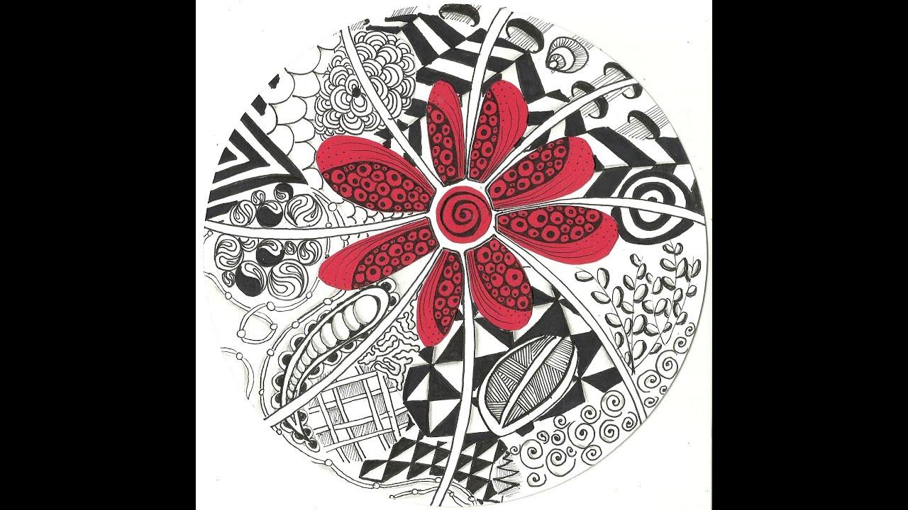 Red Flower Zentangle - YouTube