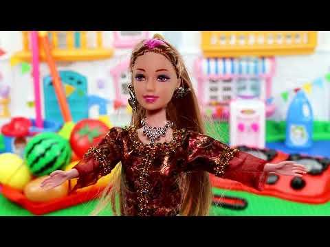 ادوات المطبخ مع باربي الشيف - العاب اطفال
