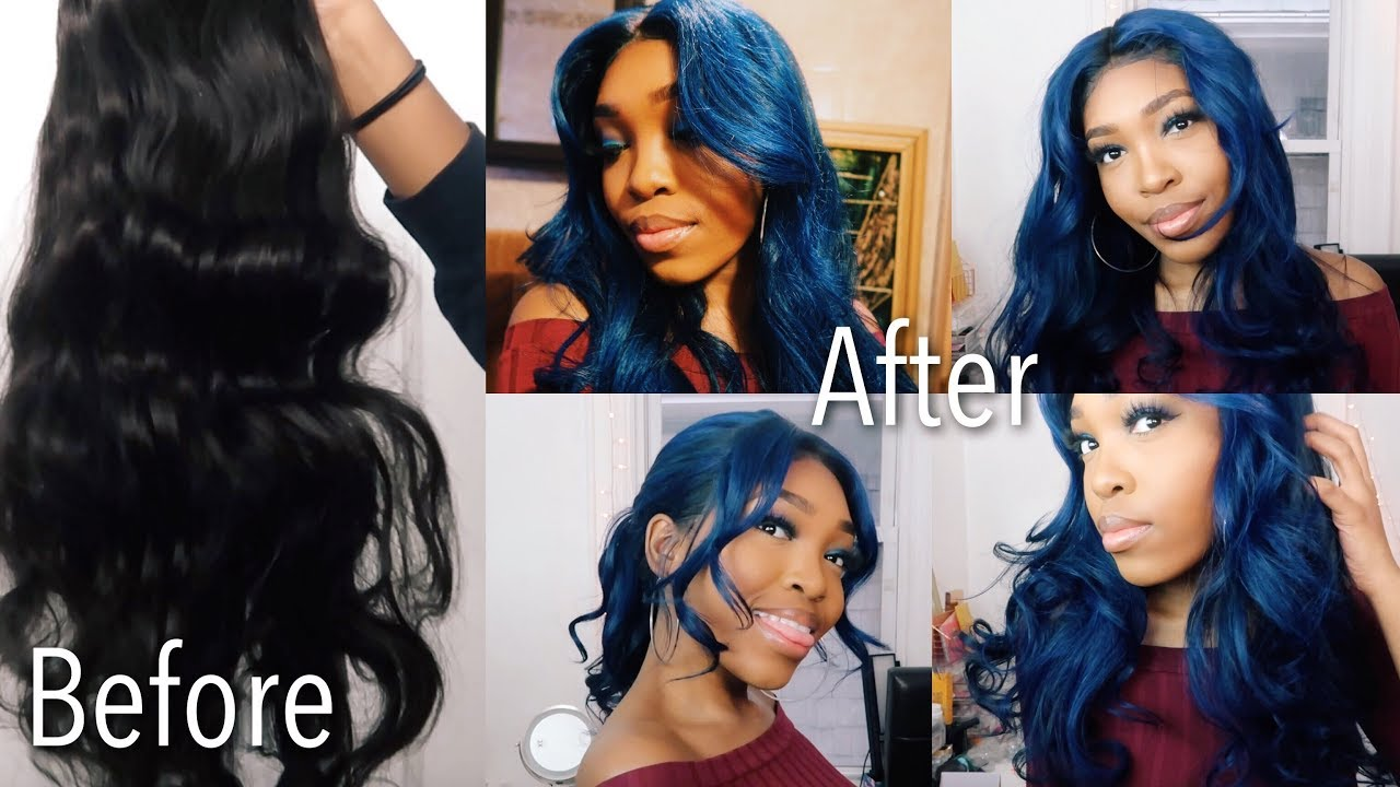Dying A Lace Front Wig From To Black To Blue Using Adore Indigo